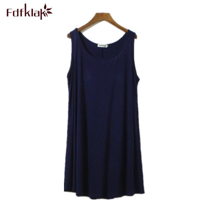 ecf09421d Fdfklak Plus Size camisola camisola de algodão das mulheres sem mangas sexy  curto vestido de noite de verão feminina sleepwear nightshirt 9 cor