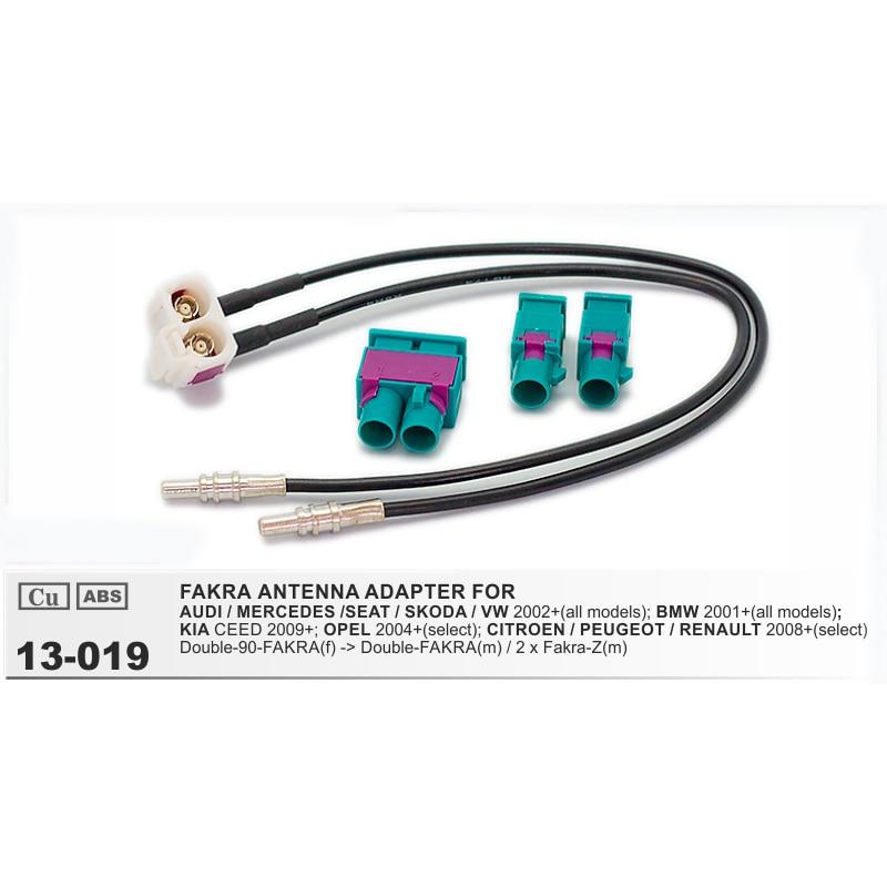 Radio Antenne Adapter Doppel 2x Fakra ISO DIN Stecker für VW Audi Seat Skoda