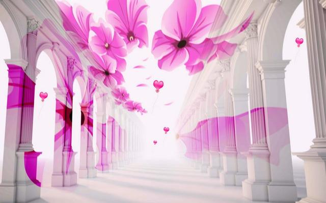 3d ceiling murals wallpaper customize Beautiful pillars petals ...