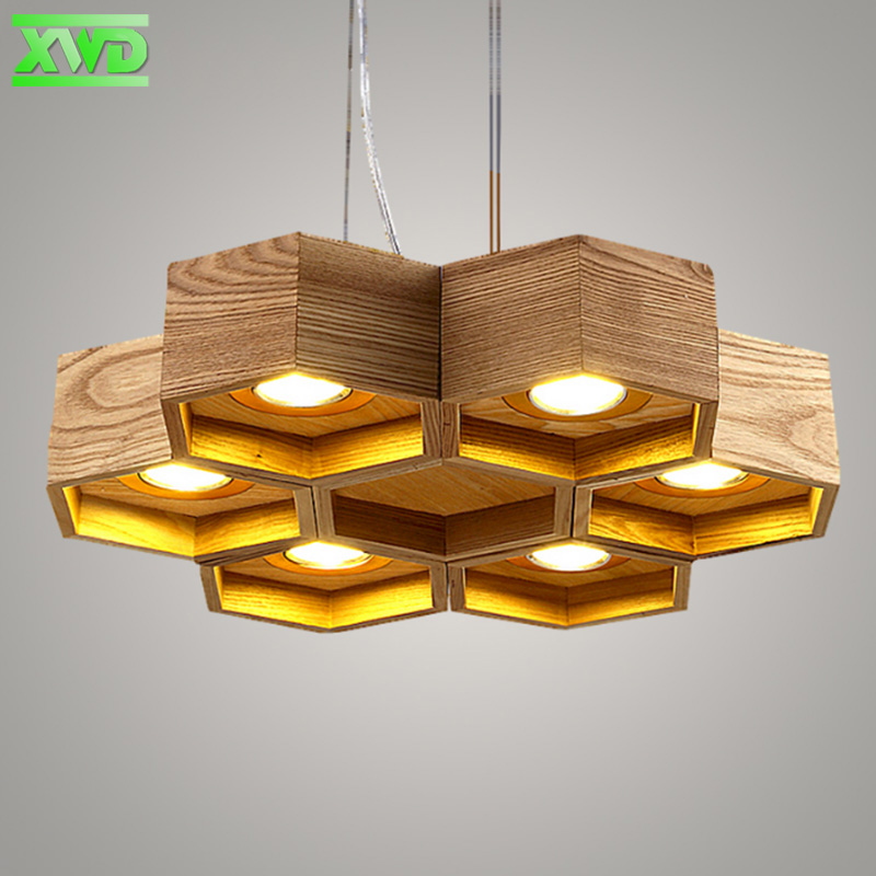 Modern Wooden Honeycomb Shop Pendant Lamp Foyer Dining Room Bar Coffee House Meeting Room Lighting Indoor