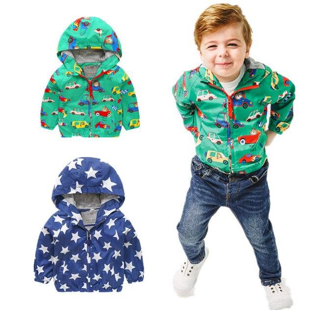 Angeltree Весенние куртки для мальчиков до года детская ветровка для Обувь для мальчиков Обувь для девочек Дети вырезать автомобиля Пальто для будущих мам верхняя одежда с капюшоном одежда Костюмы
