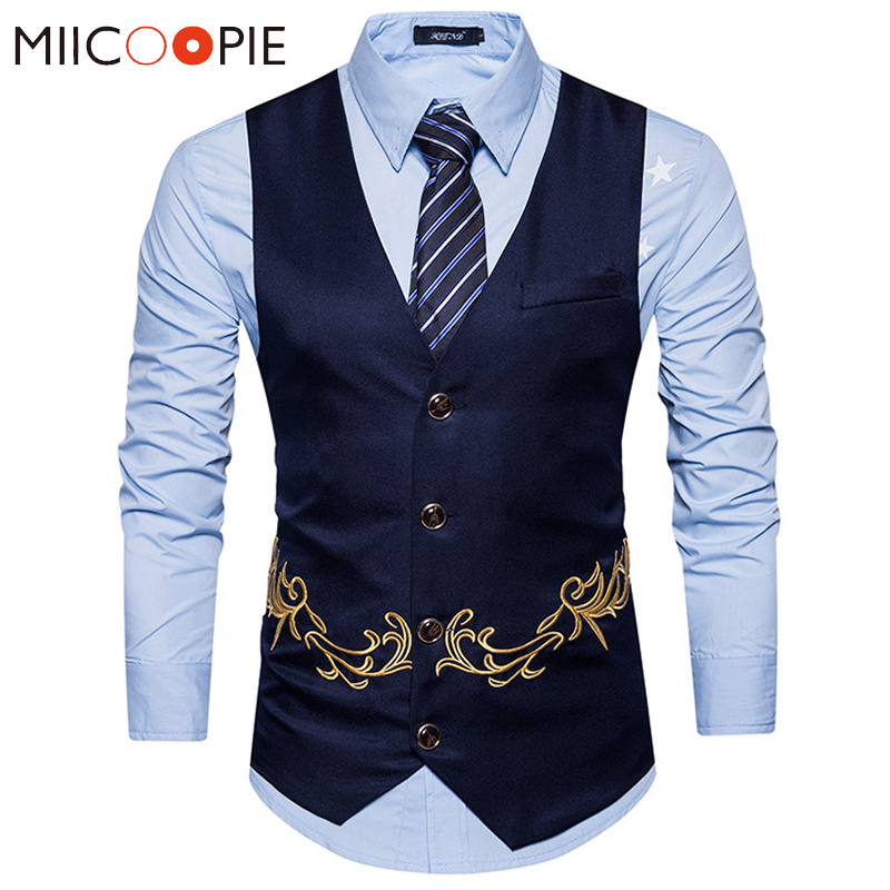 Men Floral Embroidery Vest Fashion Sleeveless Waistcoat Wedding Party Business Gilet Homme Male Single Buttons Suit Jacket XXL