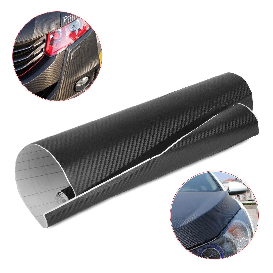 Dwcx 127x30 cm de fibra carbono 3d carro auto envoltório preto adesivo filme decalque rolo acessórios diy decoração para vw ford audi peugeot kia