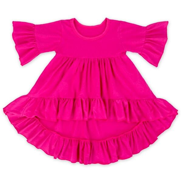 Платье для девочки на зиму и осень платье для ребенка асимметричное платье для маленьких девочек однотонная одежда из хлопка Flare Три Quarte рук...