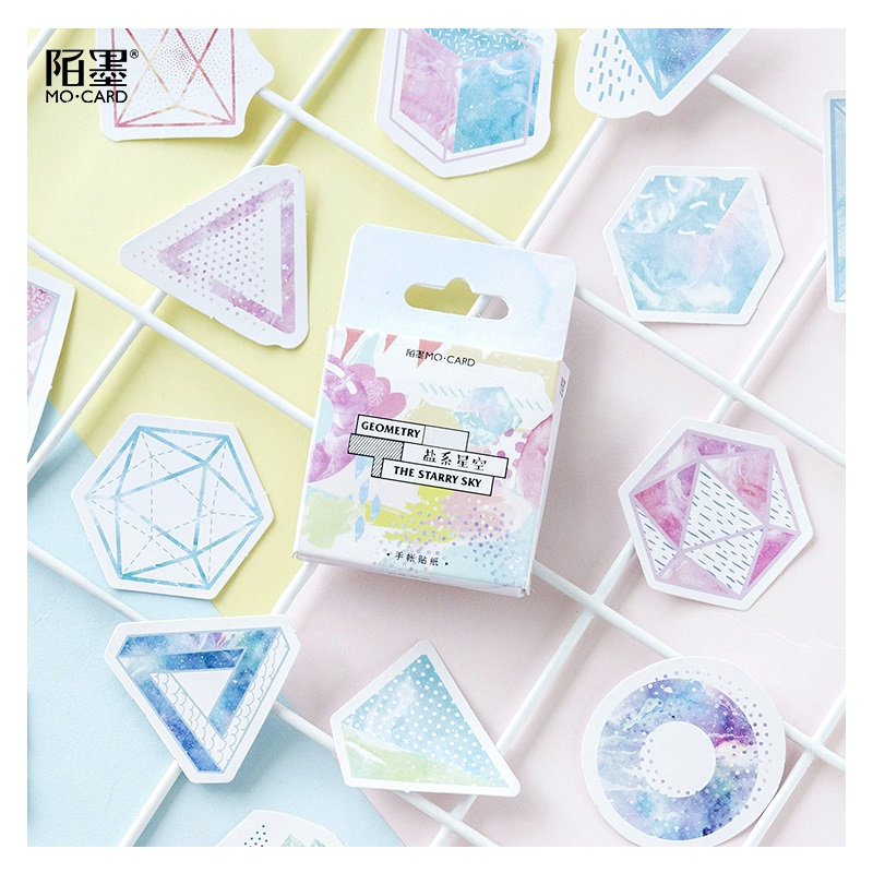 46pcs/pack Creative Geometry Starry Sky Paper Sticker Decoration Diy Handmade Art Craft Sticker Christmas Gift Selling Well All Over The World Office & School Supplies