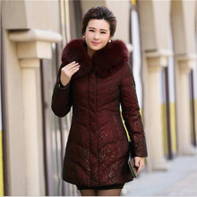 Winter Down jacket Female 2016 New Middle-aged Loose Thicken Medium Long Hooded Fur Collar printing Down jacket Coat G1655
