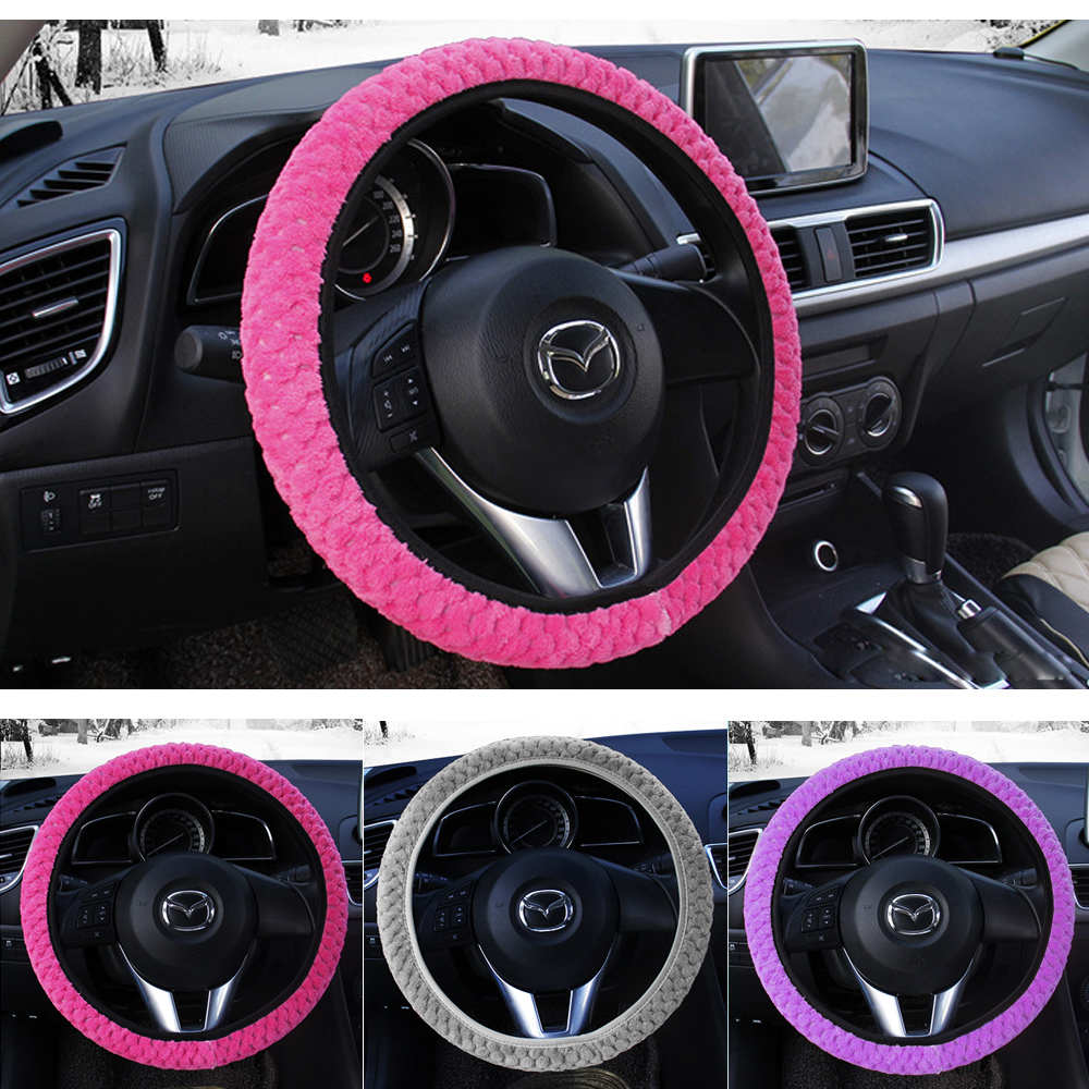 Black Winter Warm Plush Cover Car Steering Wheel Cover Universal Soft