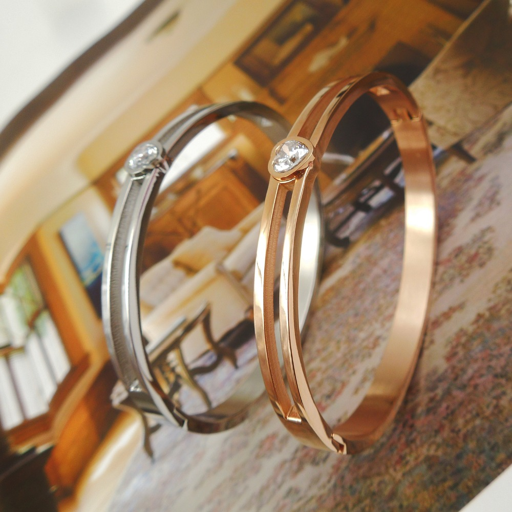Top Quality Heart Love Zircon Flower brand letter Fashion Jewelry Cuff Carter Bangles 316L Stainless Steel Bracelets For Women