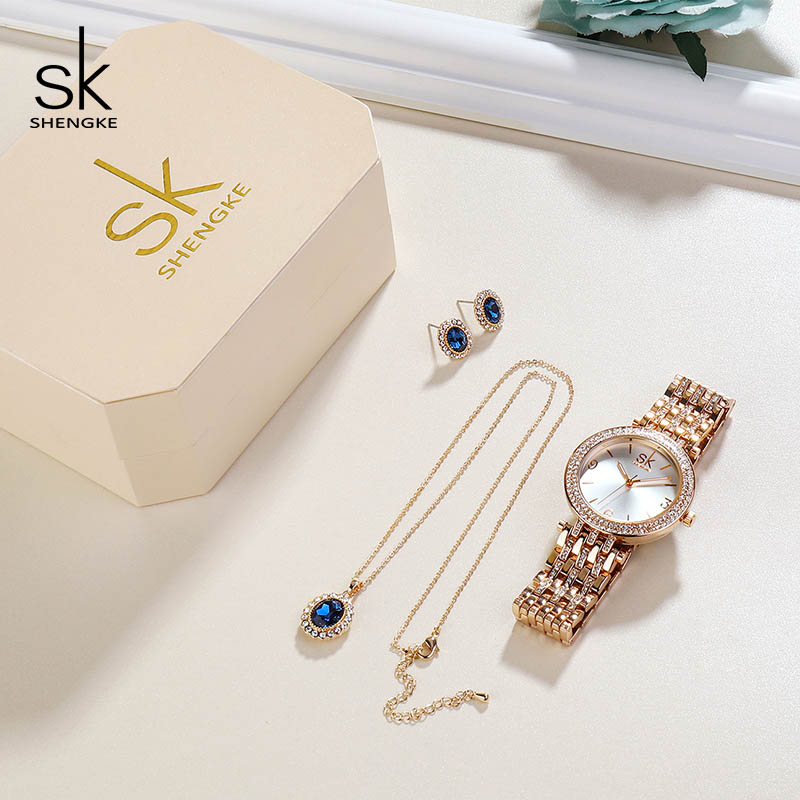 Image 2 - Shengke Creative Crystal Jewelry Set Ladies Quartz Watch 2019 Reloj Mujer Women Watches Earrings Necklace Set Women's Day Gift-in Women's Watches from Watches