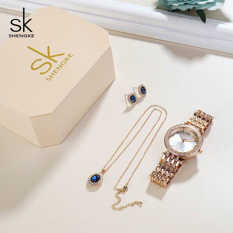 Shengke kreatywny kryształ biżuteria ustaw panie kwarcowy zegarek 2019 Reloj Mujer kobiet zegarki kolczyki naszyjnik zestaw kobiet prezent na dzień w Zegarki damskie od Zegarki na  Grupa 2