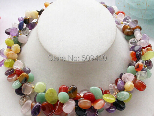 Free Shipping Wholesale>>>3row 18 nature stone & Lemon Stone & pink crystal Crystal necklaceFree Shipping Wholesale>>>3row 18 nature stone & Lemon Stone & pink crystal Crystal necklace
