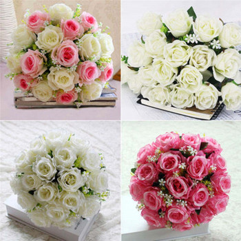18 Heads Artificial Flower Peony Bridal Bouquet Fake Flower Home Wedding Party New Year Decorative Rose Flower Drop Shipping fake rose flowers