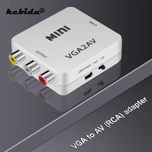 Kebidu – convertisseur Mini VGA à AV RCA 1080P, avec adaptateur Audio VGA2AV/CVBS 3.5mm, 1920x1080 60fps, vente en gros