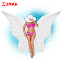 DMAR 250cm Inflatable Angel Wings Giant Pool Float Toys Water Float Inflatable Mattress Swimming Ring Beach Sea Party Flamin