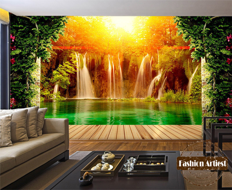 Custom 3d Mural Wallpapers Hd Landscape Mountains Lake: Custom 3d Waterfall In Forest Wallpaper Mural Lake