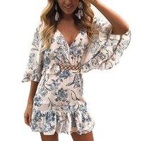 2019 Women's Fashion Floral Print Hollow Dress Sexy V neck Short Sleeve Ruffled Dress Casual Beach Zipper Dresses Holiday Wear