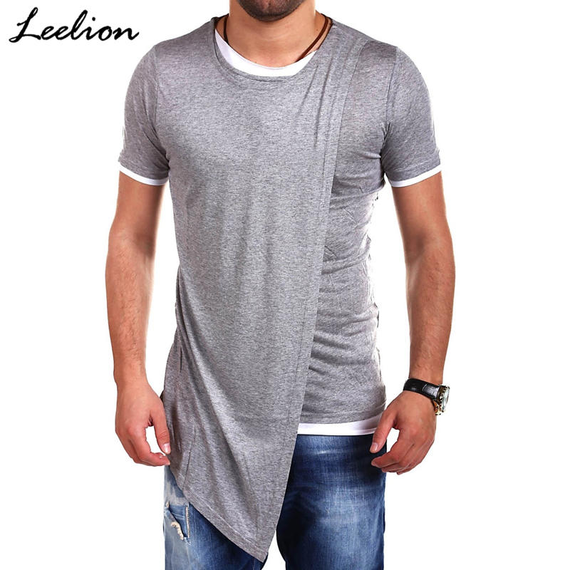 LeeLion 2018 Summer Fake Two T Shirt Men Irregular Hem Short Sleeve T-shirt Fashion Solid Slim Hip Hop Streetwear Man's Tshirt