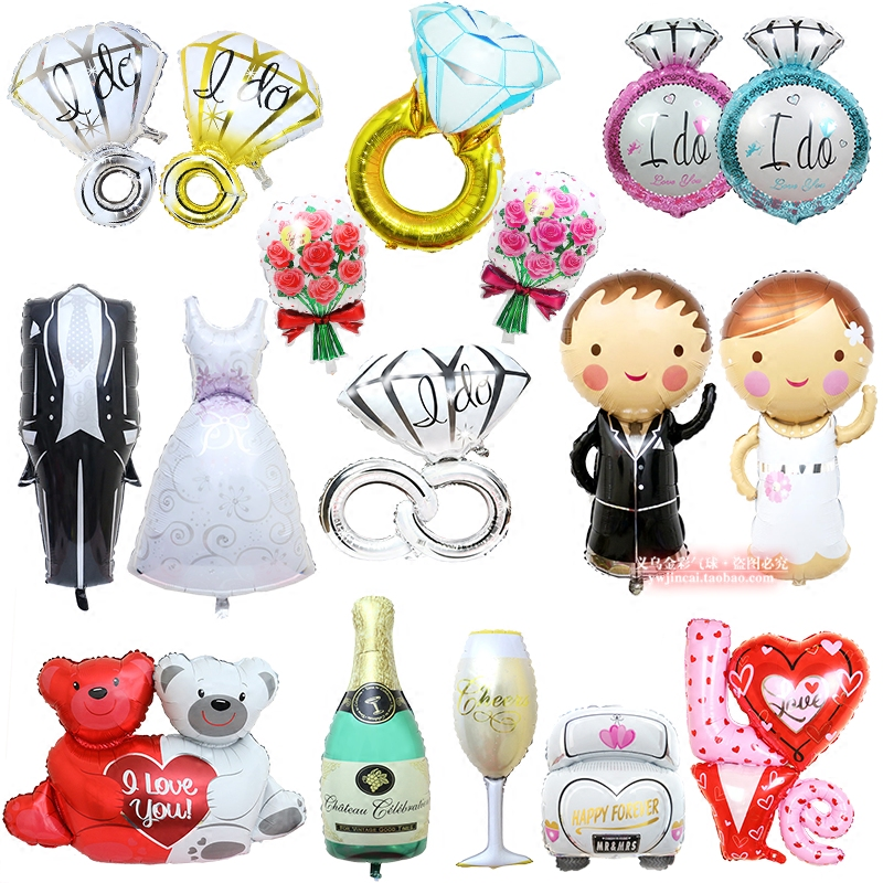 AJP 1 pc Groom Bride Wedding Dress Foil Balon Dekorasi Pernikahan Balon untuk tata letak Pernikahan Engagement Romantis