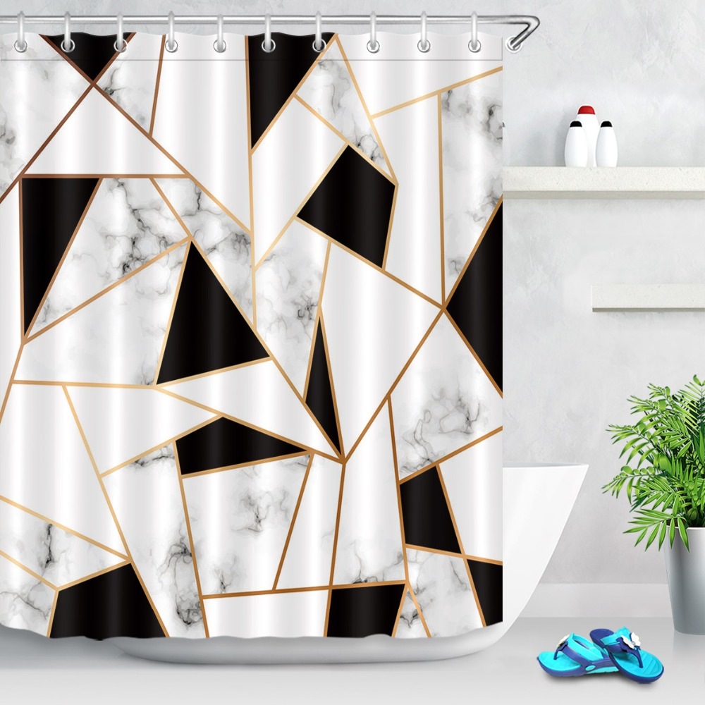 Abstract Stripes Geometric Shower Curtains Bathroom Curtain Black And White Marble Texture Waterproof Fabric For Bathtub Decor In From Home