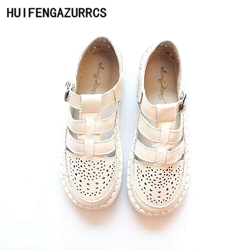 где купить HUIFENGAZURRCS-2017 Mori girl retro art Hollow shoes,Original handmade genuine leather shoes,Women pure and fresh flat shoes по лучшей цене