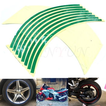 Motorcycle Wheel Sticker Reflective Decals Rim Tape Carbicycle For Yamaha YBR 125 YZF R1 R3 R6 R125 R25 TTR RSZ CBR600 YZF600