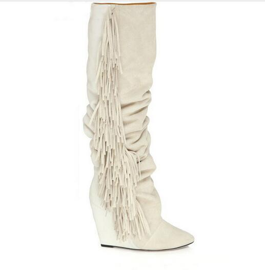 где купить  2017 Knee High Side Fringe Height Increasing Boots Suede Leather Wedge Heel Tassel Long Boots Women Wedge Heeled Casaul Shoes  по лучшей цене
