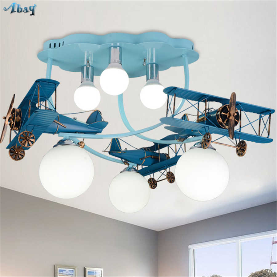 Diningroom Decoration Modern Ceiling Light Iron Air Plane Shape Gl Lampshade Children Room Fixture Kids