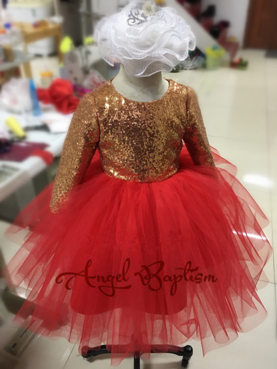 Petite fille pageant robe de soirée rouge tulle robe de bal or sequin à manches longues infantile bébé robes avec nœud
