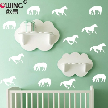 10pcs/set Cartoon Animal Pentium Horse Shape Wall Stickers For Kids Baby Rooms Fridge Wall Decals Easy To Apply Vinyl Art Mural image