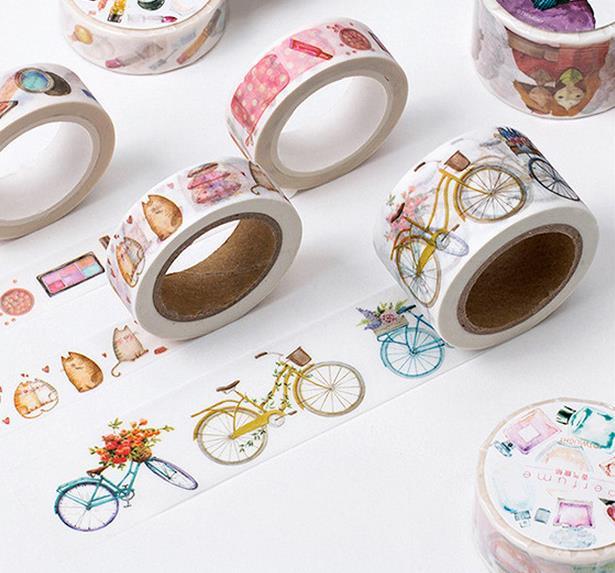 12Designs 15/20/30mm*8M Bicycle /Perfume/Girls /Butterfly /Tie Pattern Japanese Washi Decorative Adhesive DIY Masking Paper Tape