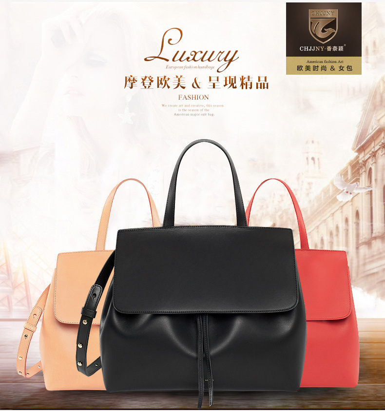 CHJJNY lady bag shoulder real leather crossbody luxury women messenger drawstring designer Rachel Mansur and Floriana Gavriel 2016 newest mansur gavriel genuine leather women circular tote bag lady hand bag logo printed free shipping