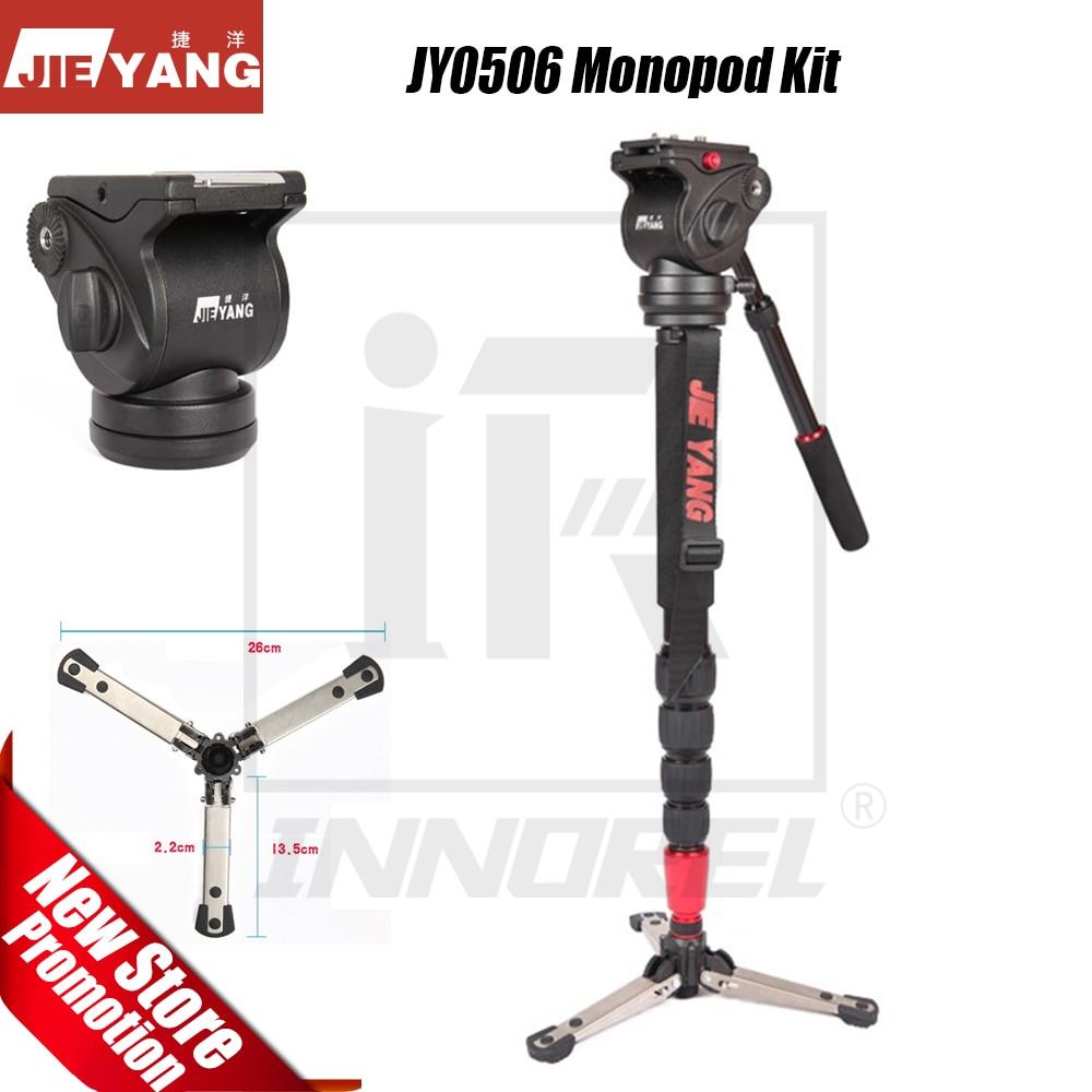 JIEYANG JY-0506 JY0506 trépied vidéo monopode professionnel en alliage d'aluminium pour caméra avec tête d'amortissement hydraulique fluide sac de transport