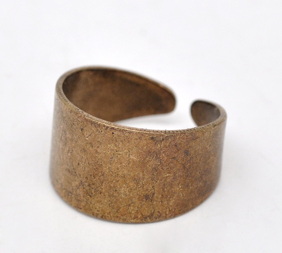 Zinc Metal Alloy Unadjustable Rings Round Antique Copper 17.5mm( 6/8