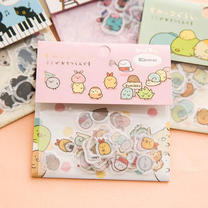 80pcs/Pack Cute Kawaii Rabbit Black Cat Sumikko Gurashi Mini Decorative Stickers Dairy Album DIY Decor Craft Stick Label