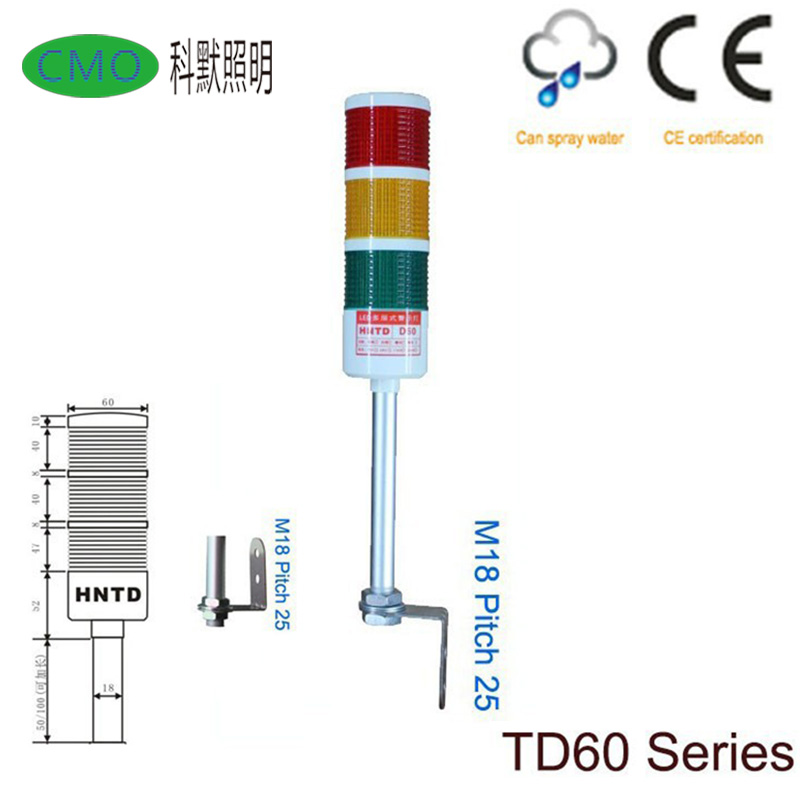 Free Shipping HNTD-60 Led Bulb Machine Multi-color Warning Light Signal Tower Lamp 3 Layers Steady Light no sound with buzzer free shipping donar esc 24v 200w multicolour sensitometry machine light bulb 02