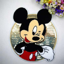 24* Hot Sale Cartoon Cloth Sequined Patches Mickey Mouse/Minnie Garment Applique DIY Accessories