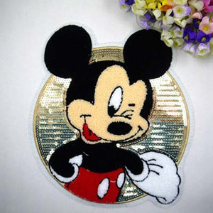 24*24.cm Hot Sale Cartoon Cloth Sequined Patches Mickey Mouse/Minnie Garment Applique DIY Accessories(China)