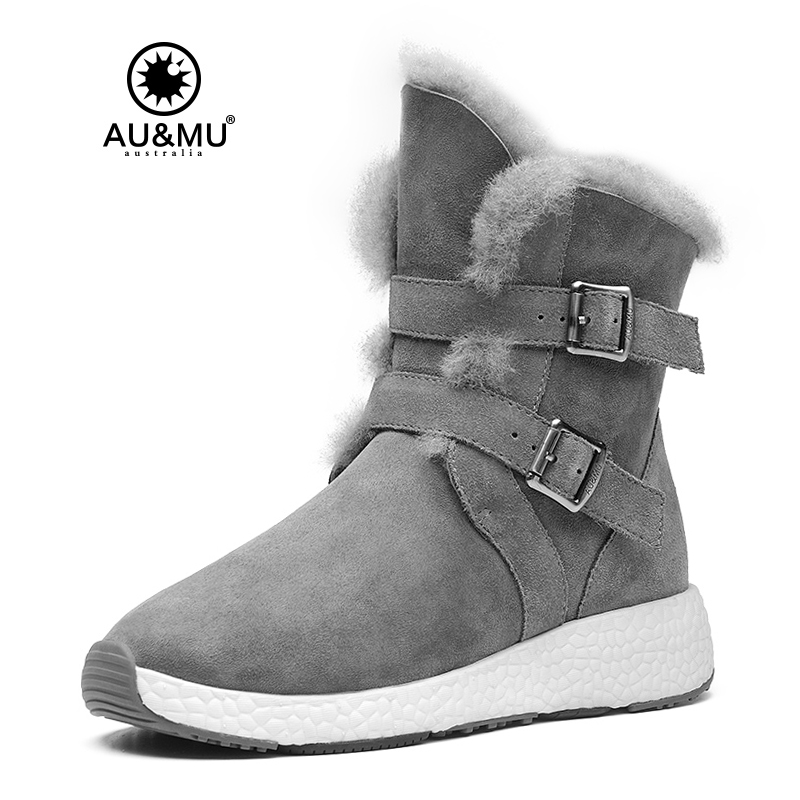 2018 AUMU Australia Women Sheepskin Suede Buckle Winter Snow Boots NY090