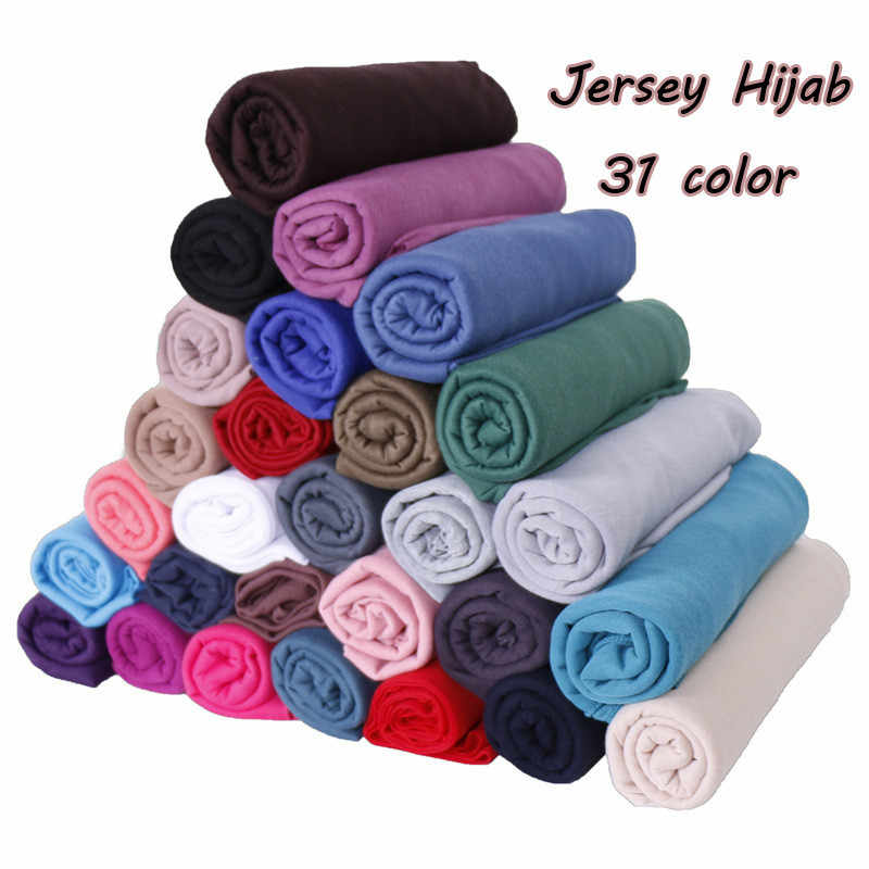 2019 women plain bubble cotton jersey scarf Head hijab wrap solid color headband shawls foulard femme muslim hijabs store
