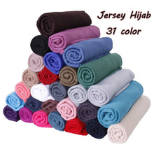 2019 women plain bubble cotton jersey scarf Head hijab wrap solid color headband shawls foulard femme muslim hijabs store