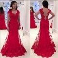 Profunda Querida Neck Mangas Compridas Laço Vermelho Da Sereia Vestido de Noite com Illusion Lace Voltar Formal Party Dress Plus Size
