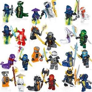 Image 1 - Классический игрушечный ниндзя, фигурки питора, 24 шт./лот, Kai, jay, Cole ZANE, Lloyd, Sensei, Wu NYA, Набор фигурок в виде змей, строительные блоки, игрушки