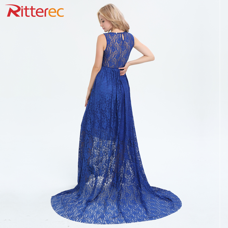 Buy Cheap 2017 Summer New Fashion Lace Dress Women Solid Color Patchwork Evening Long Dress Sleeveless O Neck Blue Maxi Dress