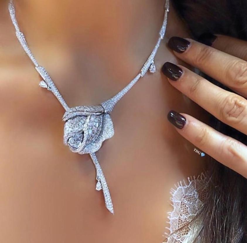 Necklace Jewelry-Set Nigerian Wedding-Naija Jankelly Cubic-Zirconia Flower Dubai Bride