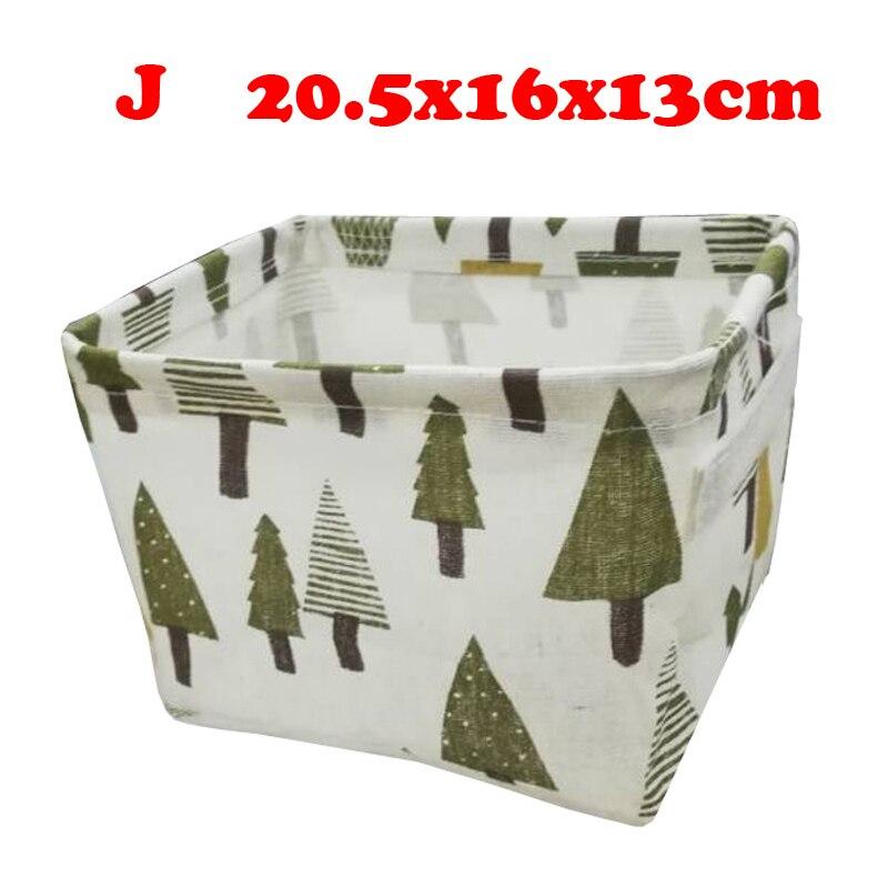 Настольный ящик для хранения с милым принтом, водонепроницаемый органайзер, хлопок, лен, корзина для хранения мелочей, шкаф, нижнее белье, сумка для хранения - Цвет: J