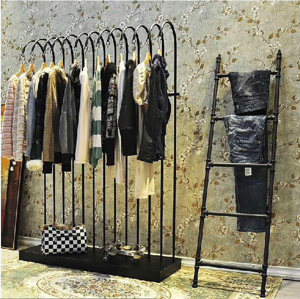 Suspended Style 32 Floating Staircase Ideas For The: Clothing Display Floor Rustic Staircase Jeans Hanging Wall