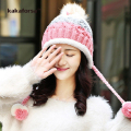 New Winter Women Patchwork Acrylic Beanies with Pompoms High Quality Thickened Soft Knitted Hats Female Ear Protection Caps