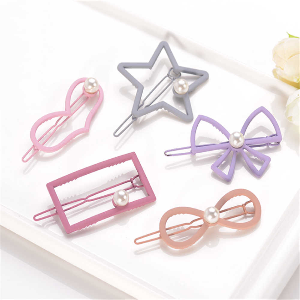 1PC New Cute Candy Color Geometric Hairpins For Women Girls Pearl Hair Clips Hollow Metal Hairpin Barrette Chic Hair Accessories