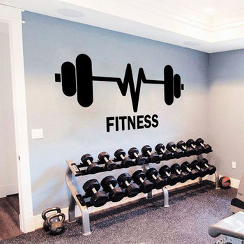 Gym Sport Vinyl Wall Sticker Weightlifting Barbells Wall Decal Fitness Club Decoration Fitness Logo Wallpaper Art Mural AZ053 1
