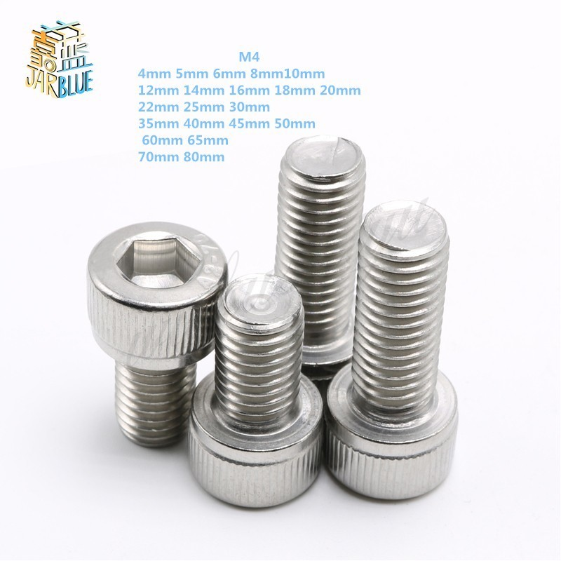 Metric Thread DIN912 M4 304 Stainless Steel Hex Socket Head Cap Screw Bolts M4*(4/5/6/8/10/12/14/16/18/20/22/25/30/35/40/45/50) free shipping 100pcs lot metric thread din912 m4x12 mm m4 12 mm 304 stainless steel hex socket head cap screw bolts